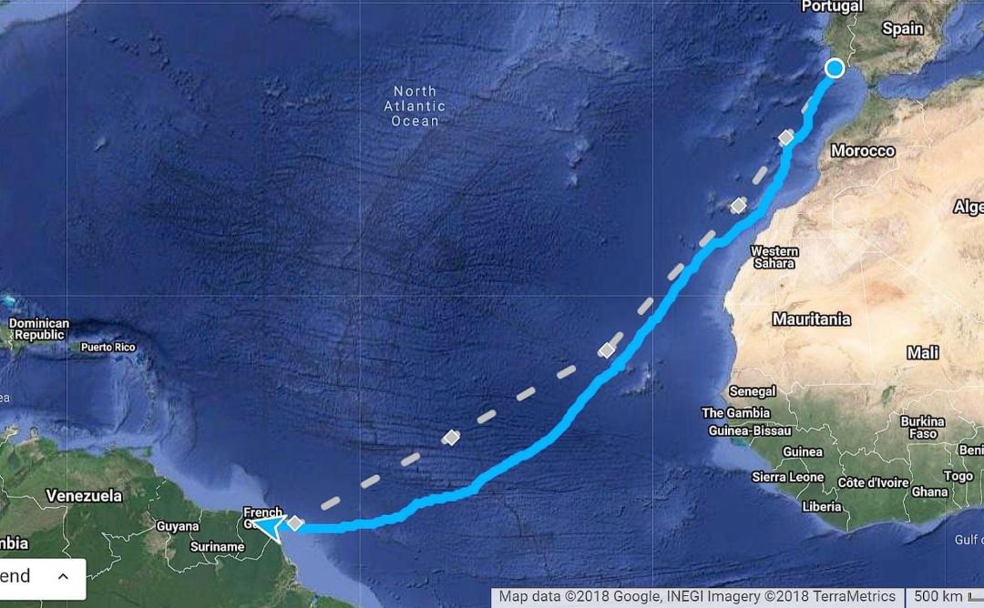 Routekaart oceaanroeitocht